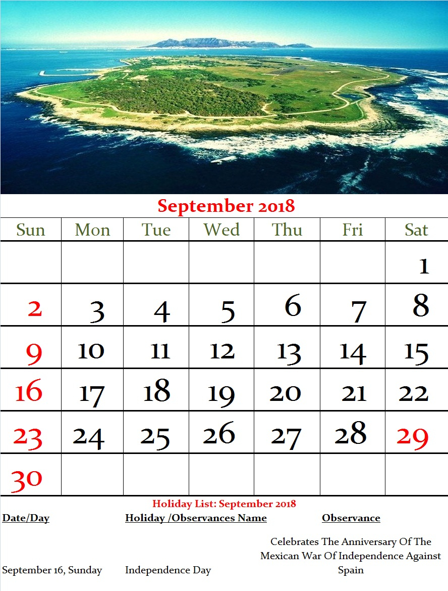 Mexico Monthly Calendar September 2018 | Year Pertaining To Mexican Calendar With Names