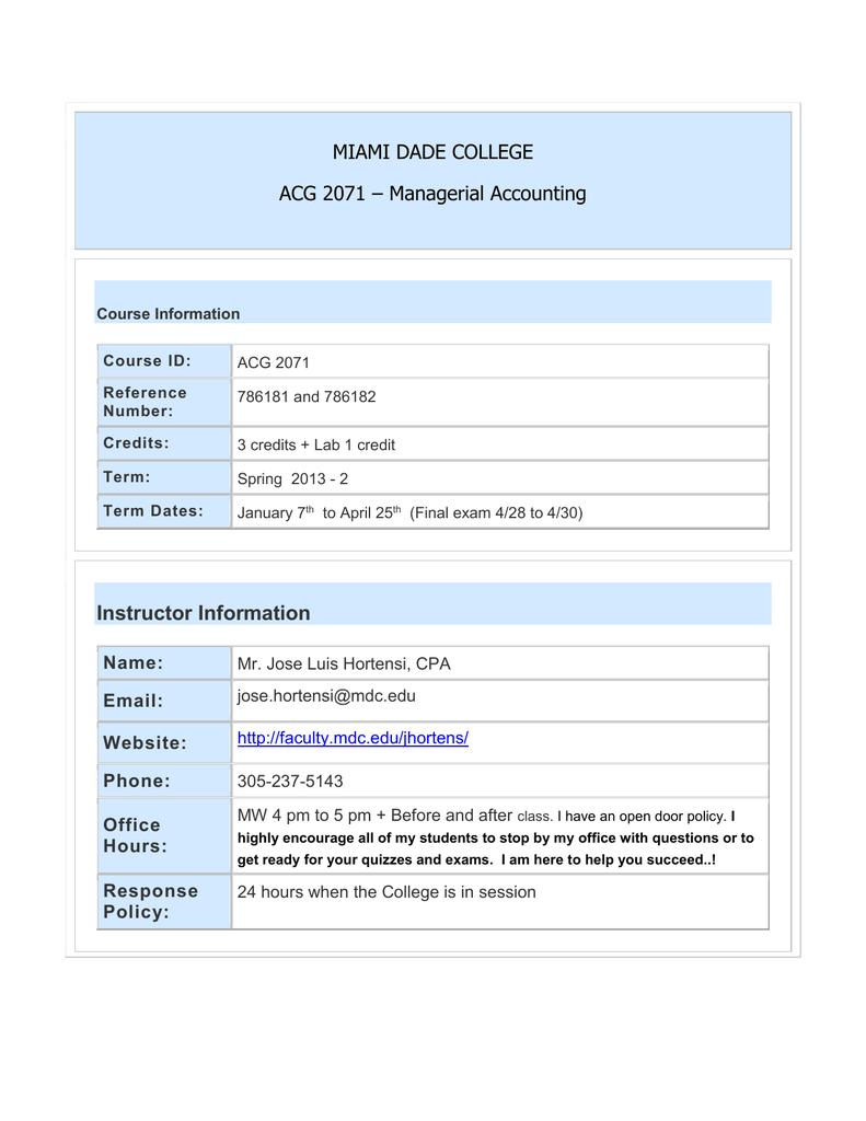 Miami Dade College Acg 2071 – Managerial Accounting In Miami Dade College School Calendar 2021 2020