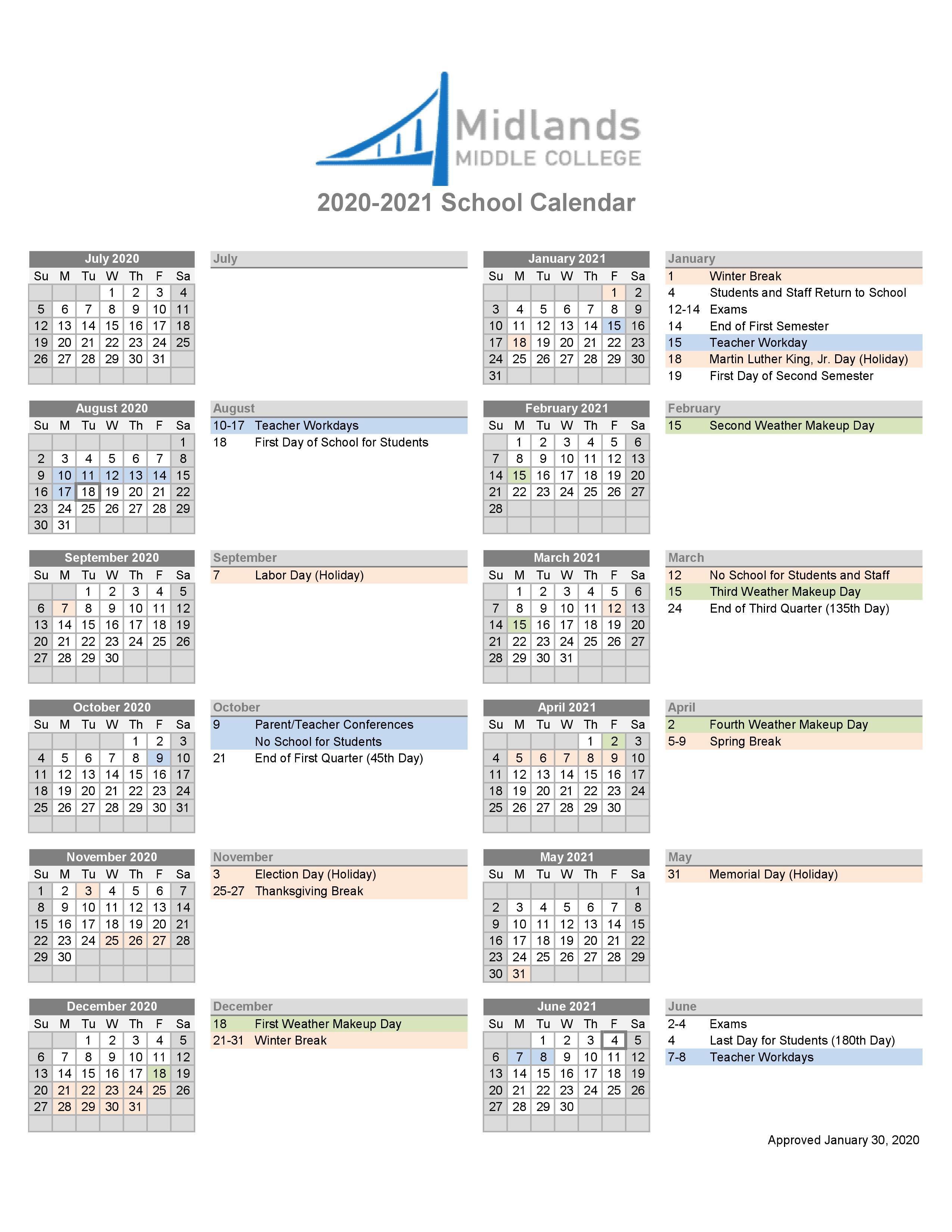 Midlands Middle College Calendar Intended For Aiken County School District Calendar 2021