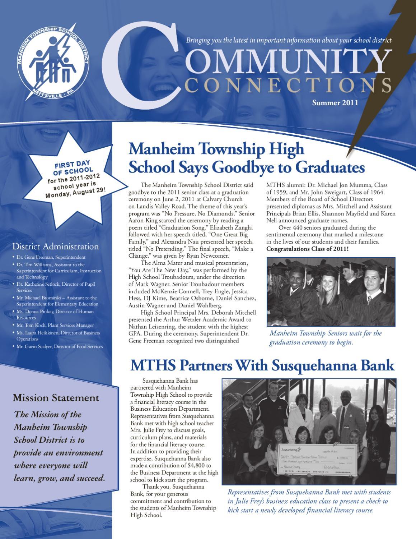 Mtsd Community Connections Newsletter Summer 2011Marcie With Manheim Township School Calendar