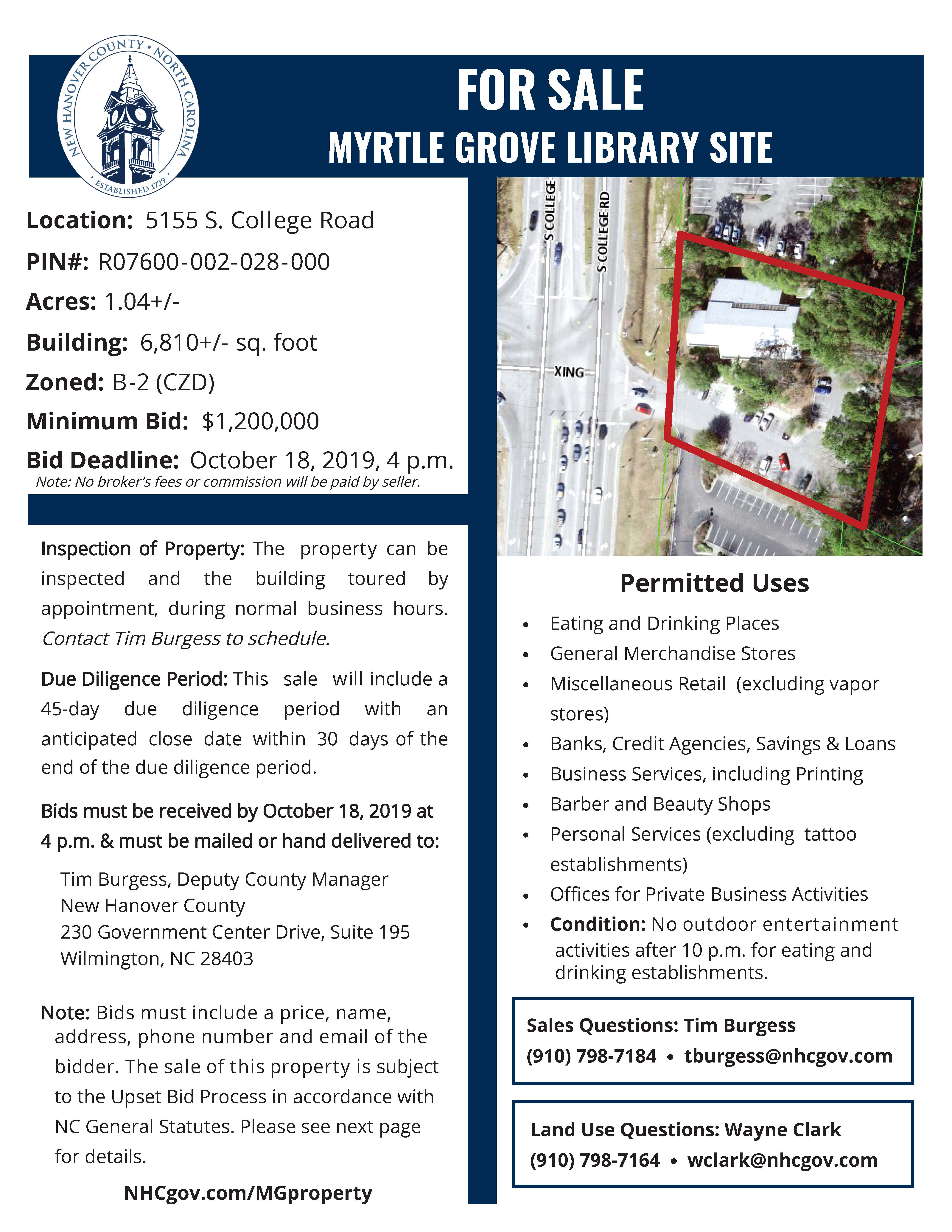 Myrtle Grove Library Site For Sale   The Model Of Good With New Hanover County Court Calender