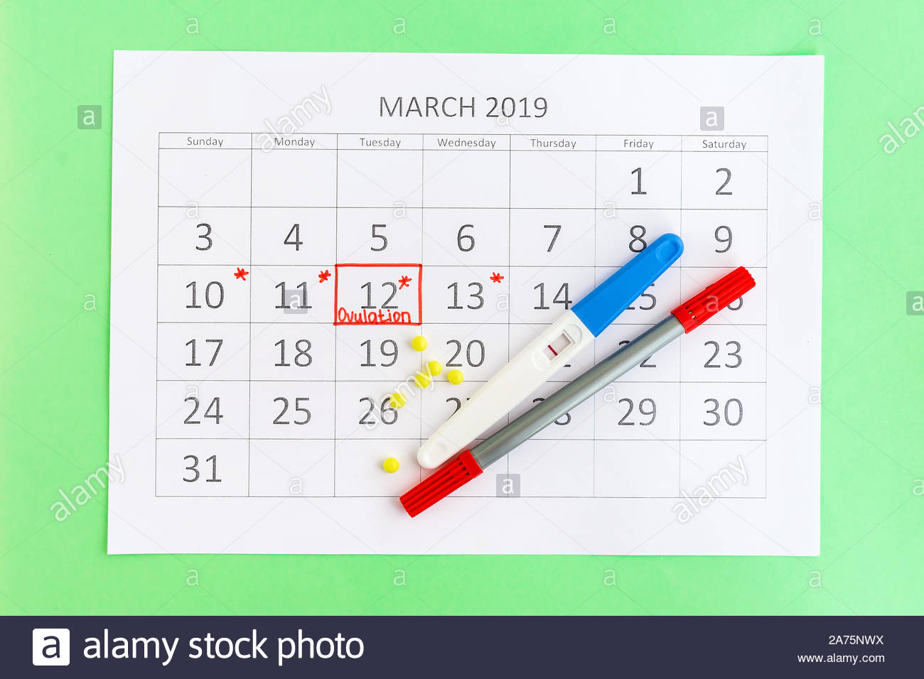 Negative Pregnancy Test With Circling Date In Calendar With When To Take A Pregnancy Test Calendar