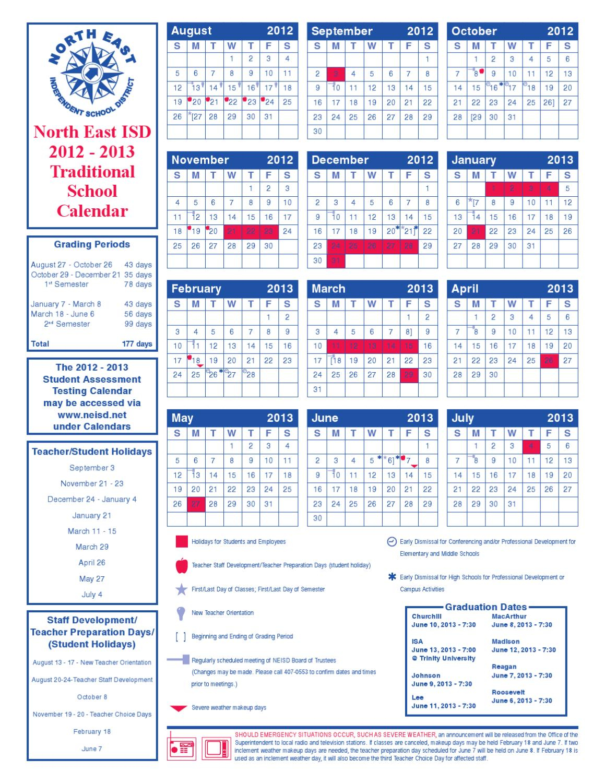 Neisd 2012-2013 Calendargarner Middle School - Issuu within East Meadow High School Calandar 2012