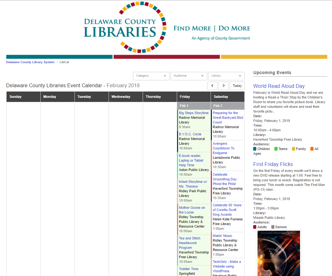 New Event Calendar   Delaware County Library System Inside Delaware County Community College Calendar