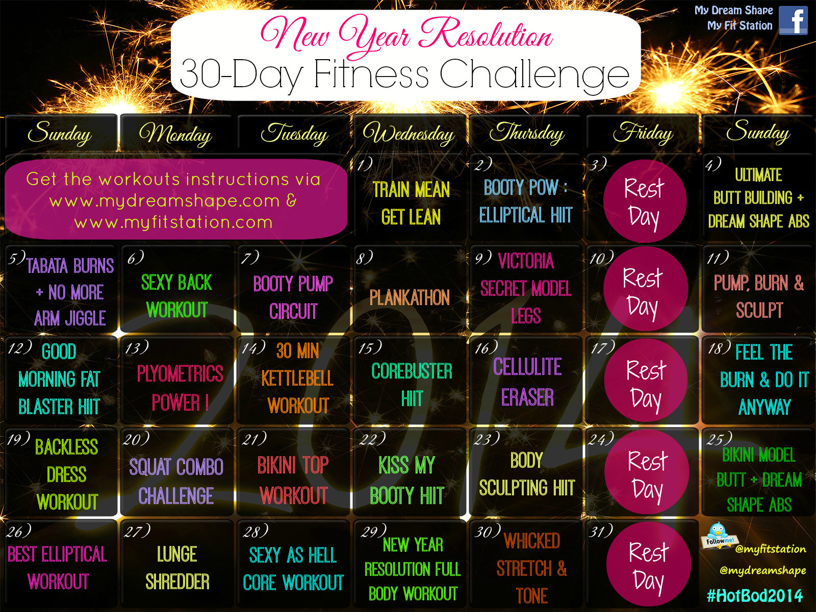 New Year's Resolution Fitness Challenge – My Dream Shape! Inside January Fitness Printable Challenge