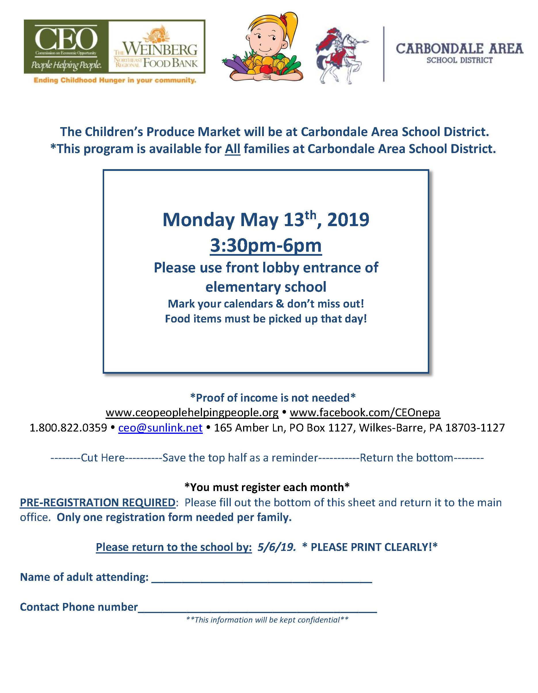Next Children's Produce Market Monday May 13Th 2019 pertaining to Wilkes Barre Area School District Calendar