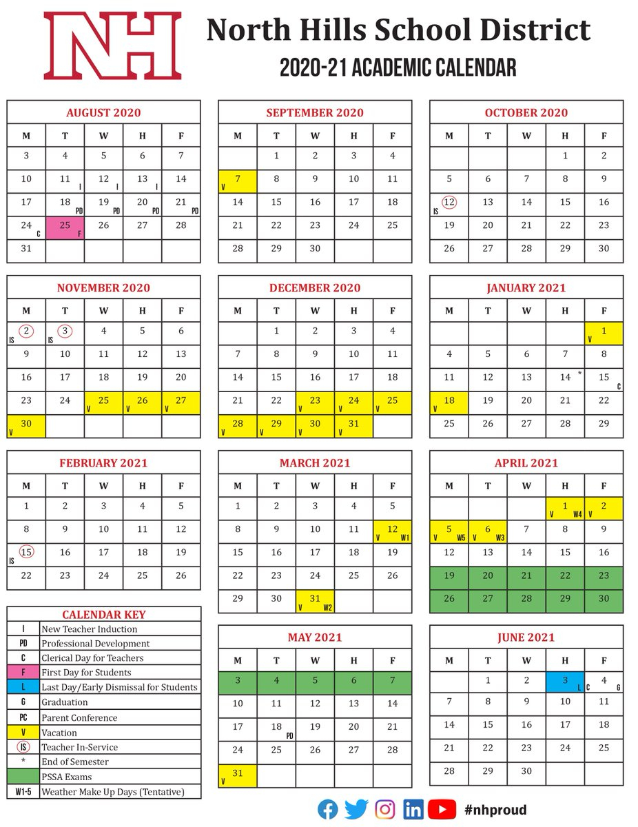 """North Hills Sd On Twitter: """"school Board Approves Academic Throughout North Hills School Calendar"""