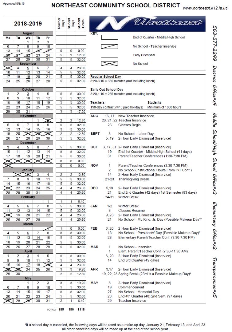 Northeast Community School District - 2018 2019 School Calendar Regarding Dubuque Community School Calandar