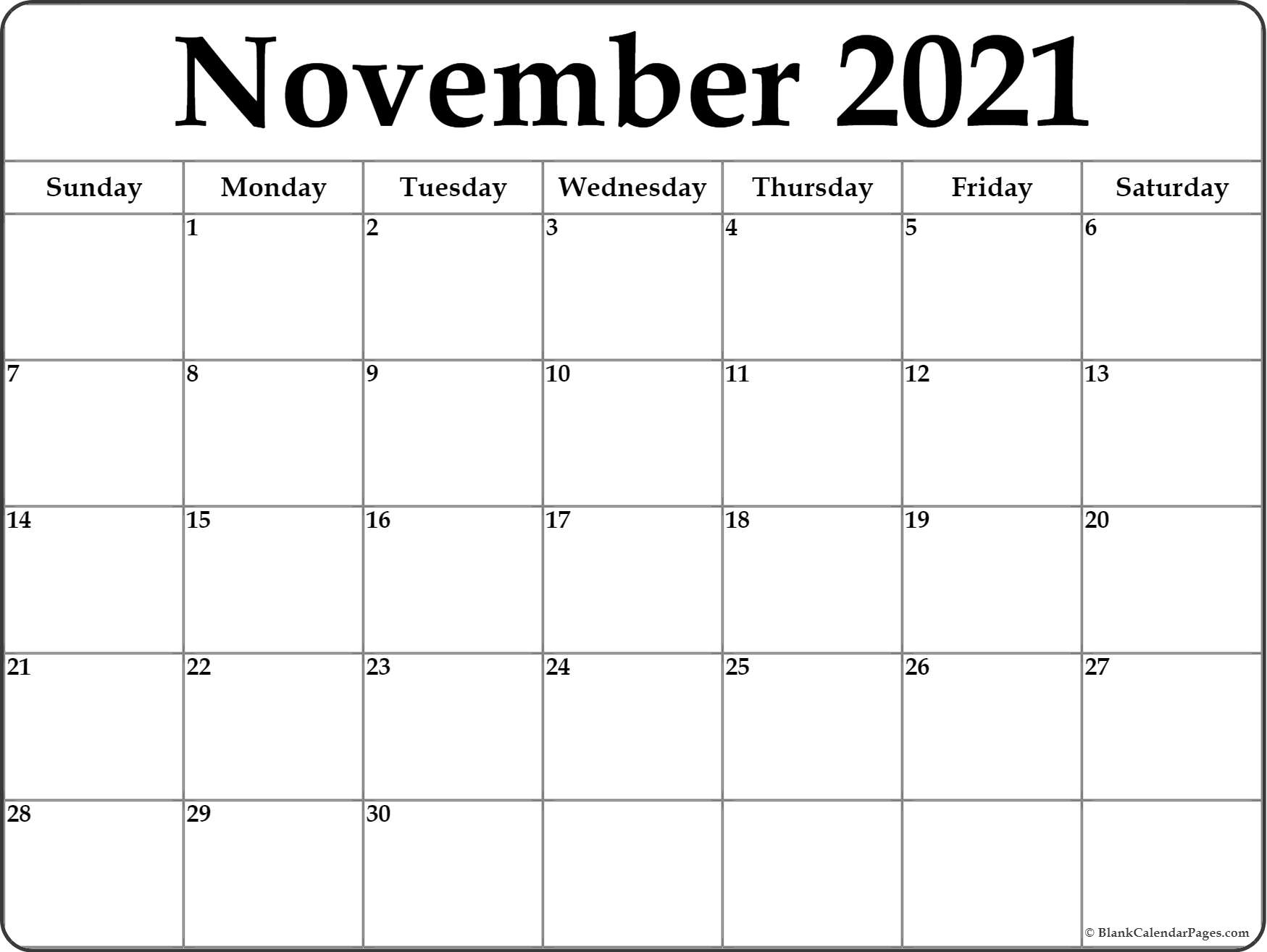 November 2021 Calendar   Free Printable Monthly Calendars For Calendar With November 2021 Mexican Names