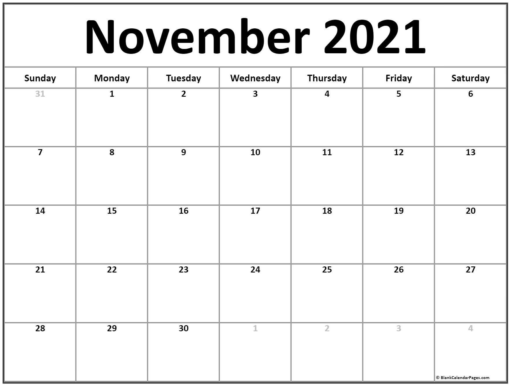 November 2021 Calendar   Free Printable Monthly Calendars Intended For Calendar With November 2021 Mexican Names