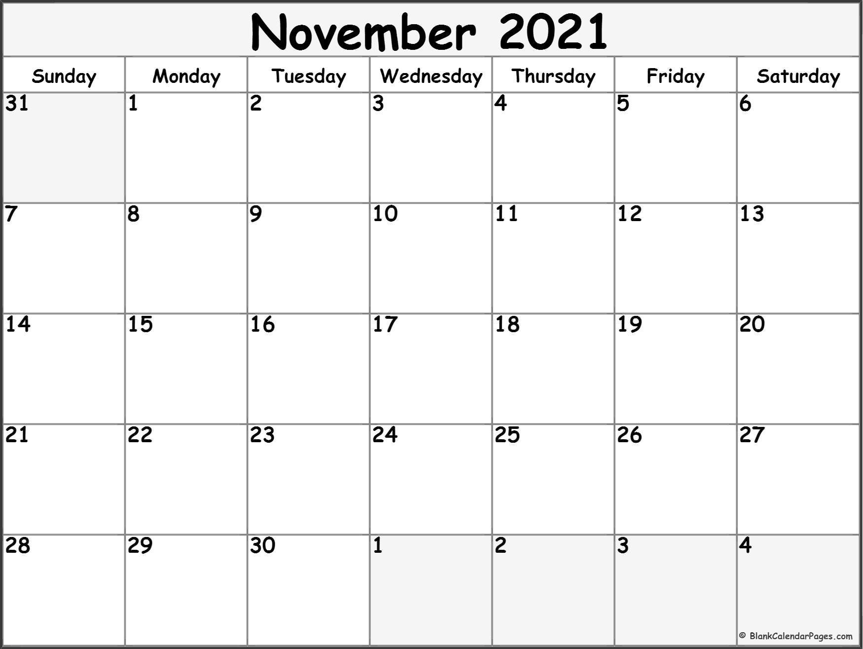 November 2021 Calendar   Free Printable Monthly Calendars Within Calendar With November 2021 Mexican Names