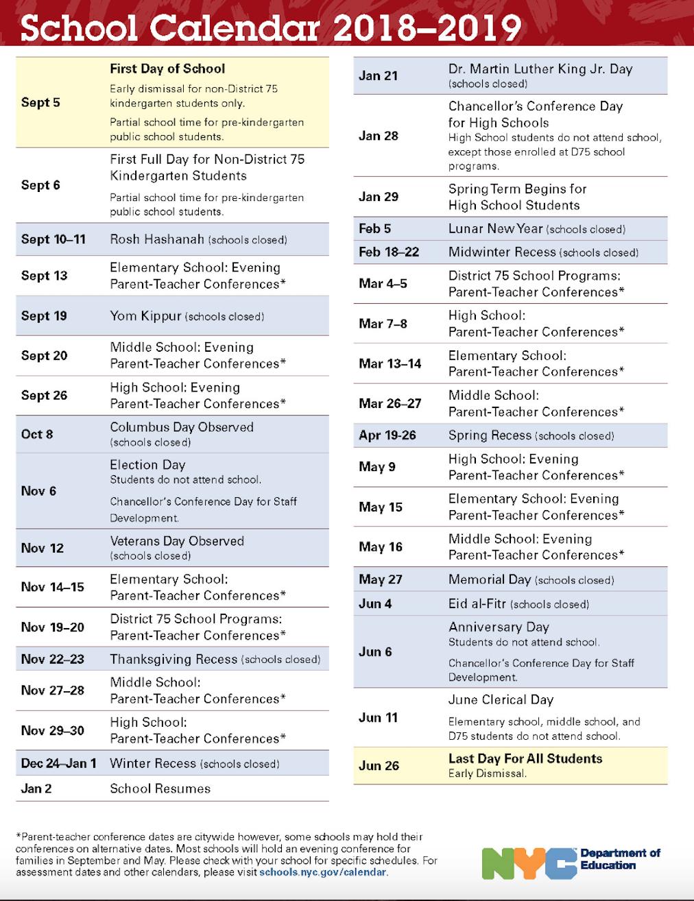 Nyc Doe 2018 2019 School Calendar | Ps 373R Robert Randall Within Board Of Education Calendar