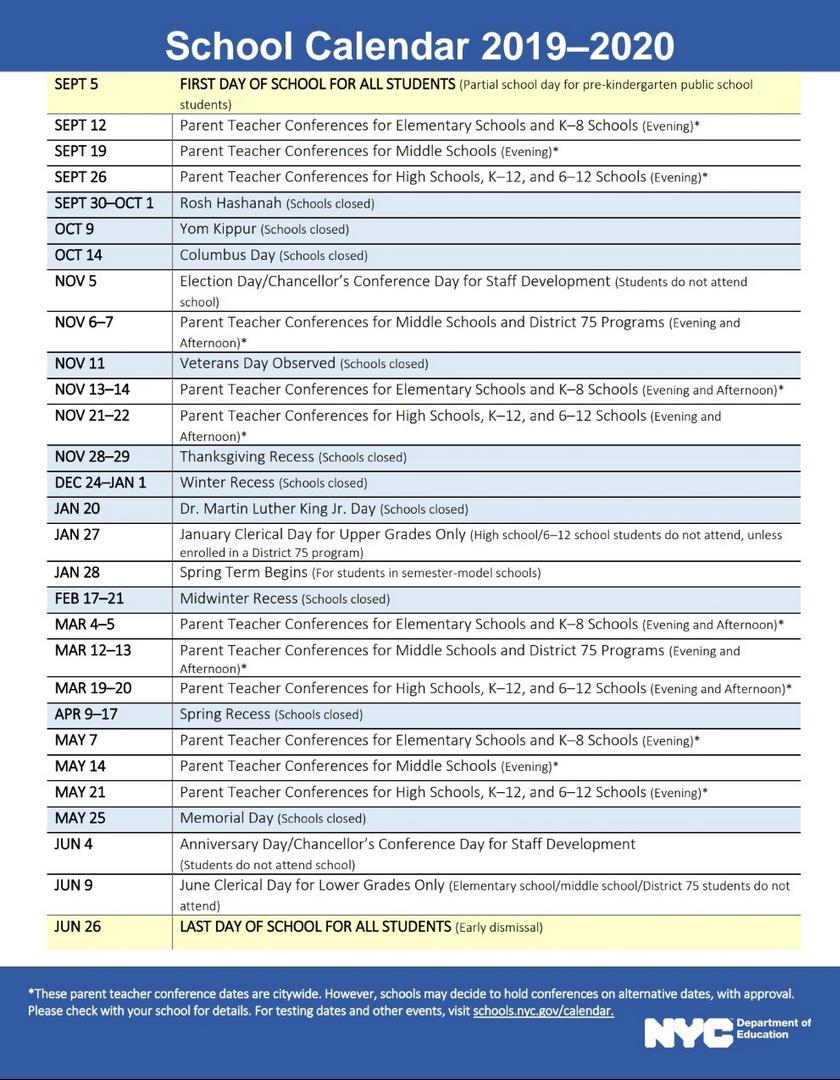 Nyc Doe 2019-2020 School Calendar | Ps 373R Robert Randall within Board Of Education Calendar Nyc