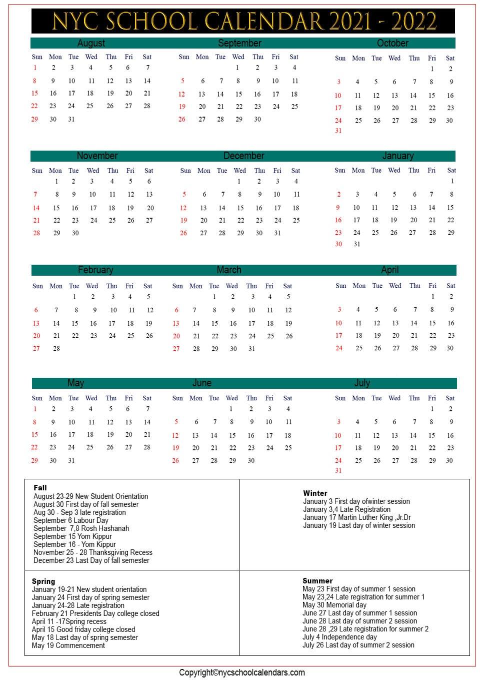 Nyc School Calendar 2021 ✅❤️ inside North Syracuse School Calendar 2021
