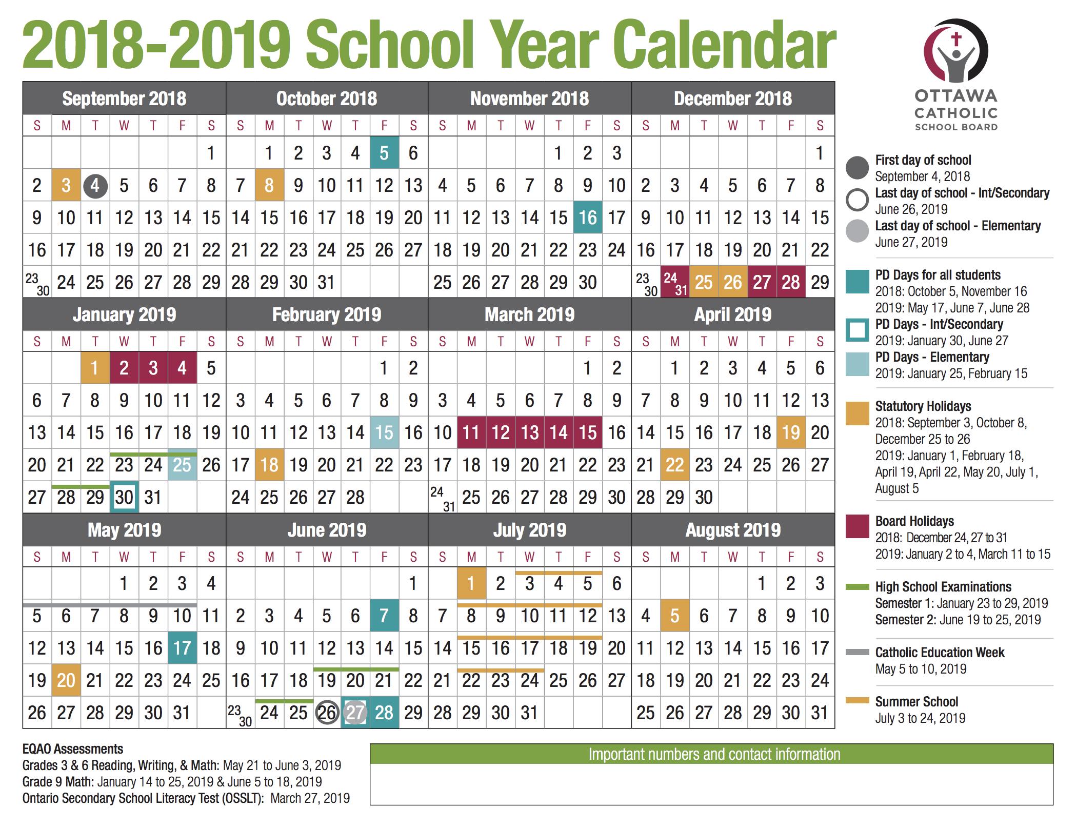 Ocsb School Year Calendar Image 2018 2019 – Ocsb With West Ottawa School Calendar