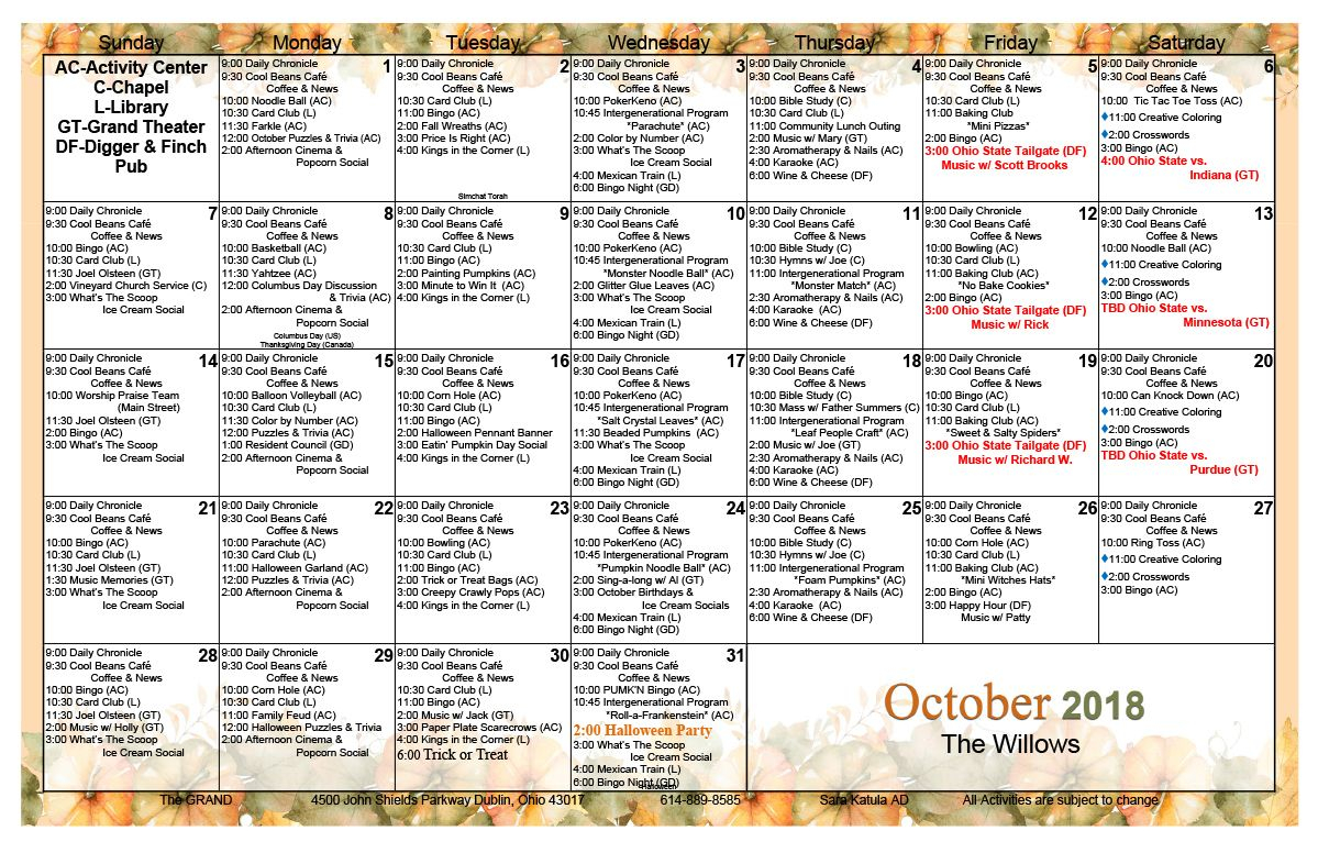 October 2018 Assisted Living Activity Calendar (With Images In Assisted Living Activities Schedule
