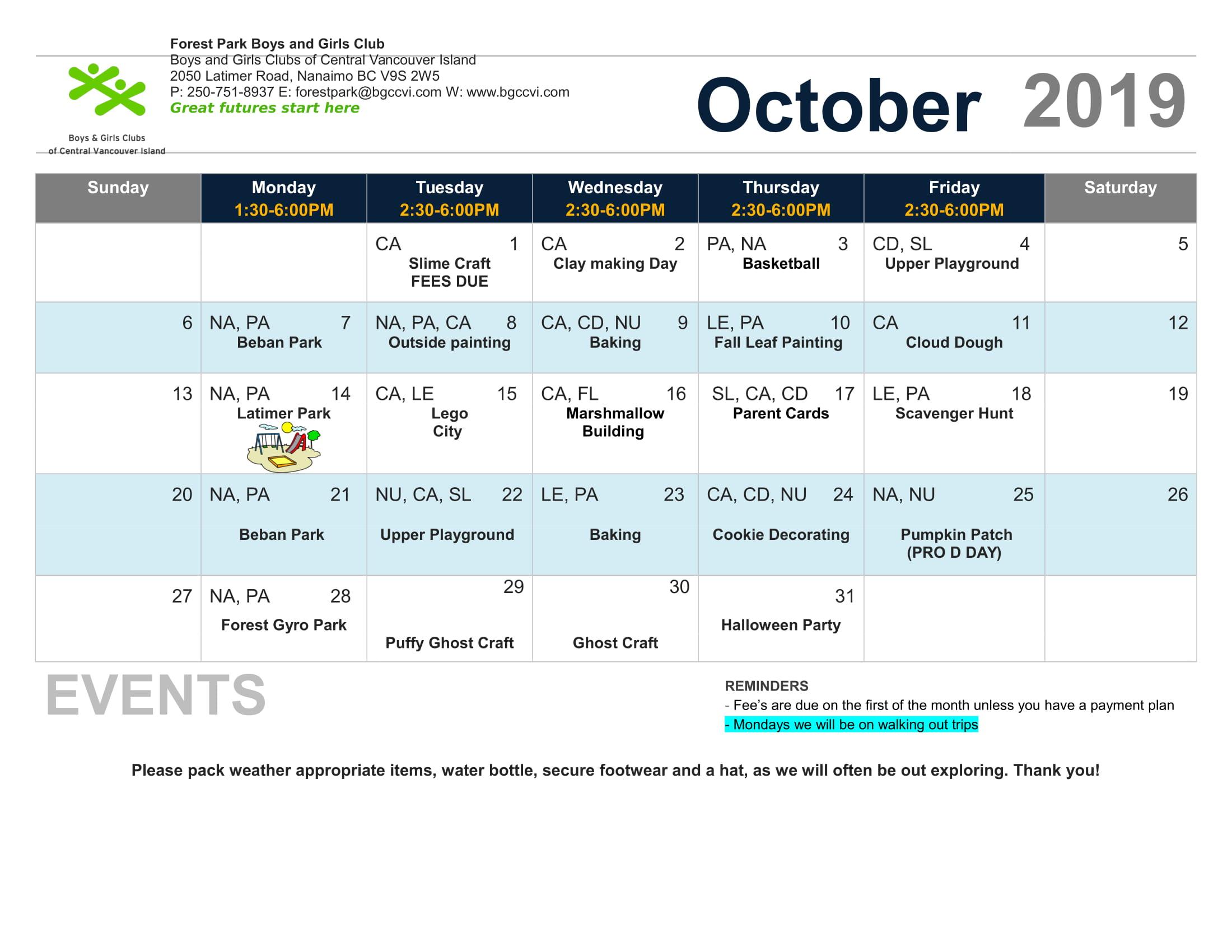 October 2019 Calendar Forest Park – Boys & Girls Clubs Of Intended For Boys And Girls Club Calender For Meetingd