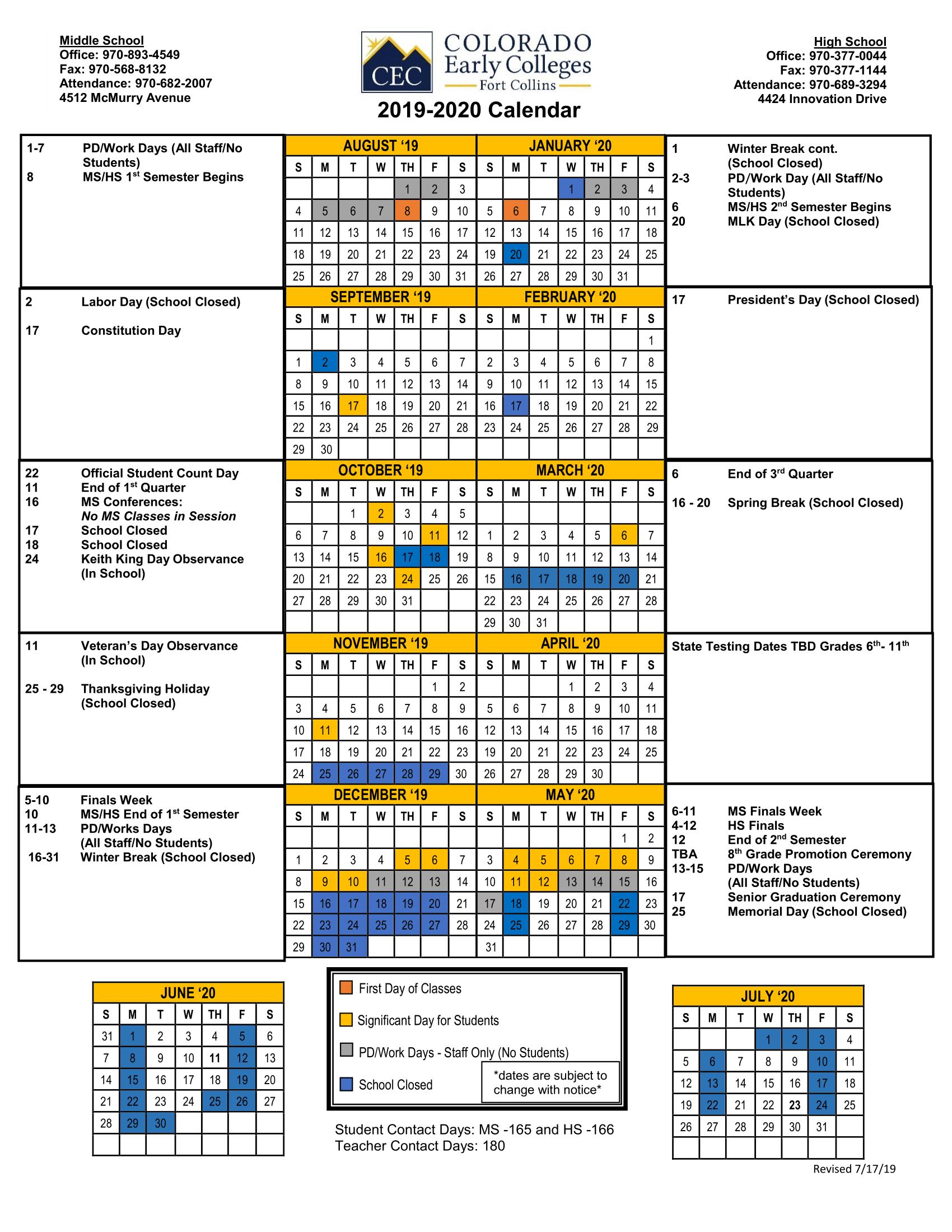 Official School Calendars – Miscellaneous – Cec Fort Collins With Regard To District 20 Colorado Springs Calendar