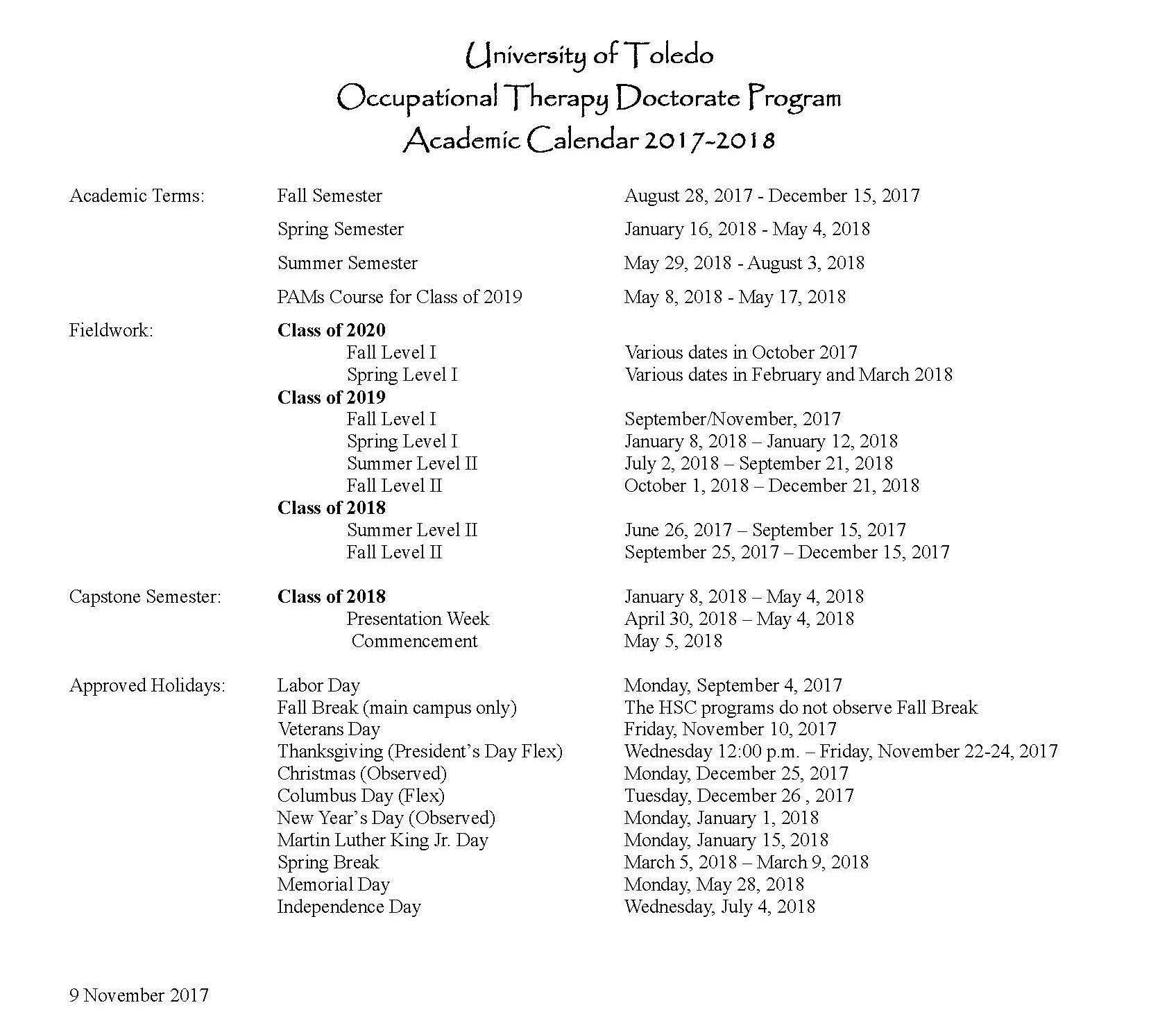 Otd Calendar pertaining to University Toledo Academic Calendar