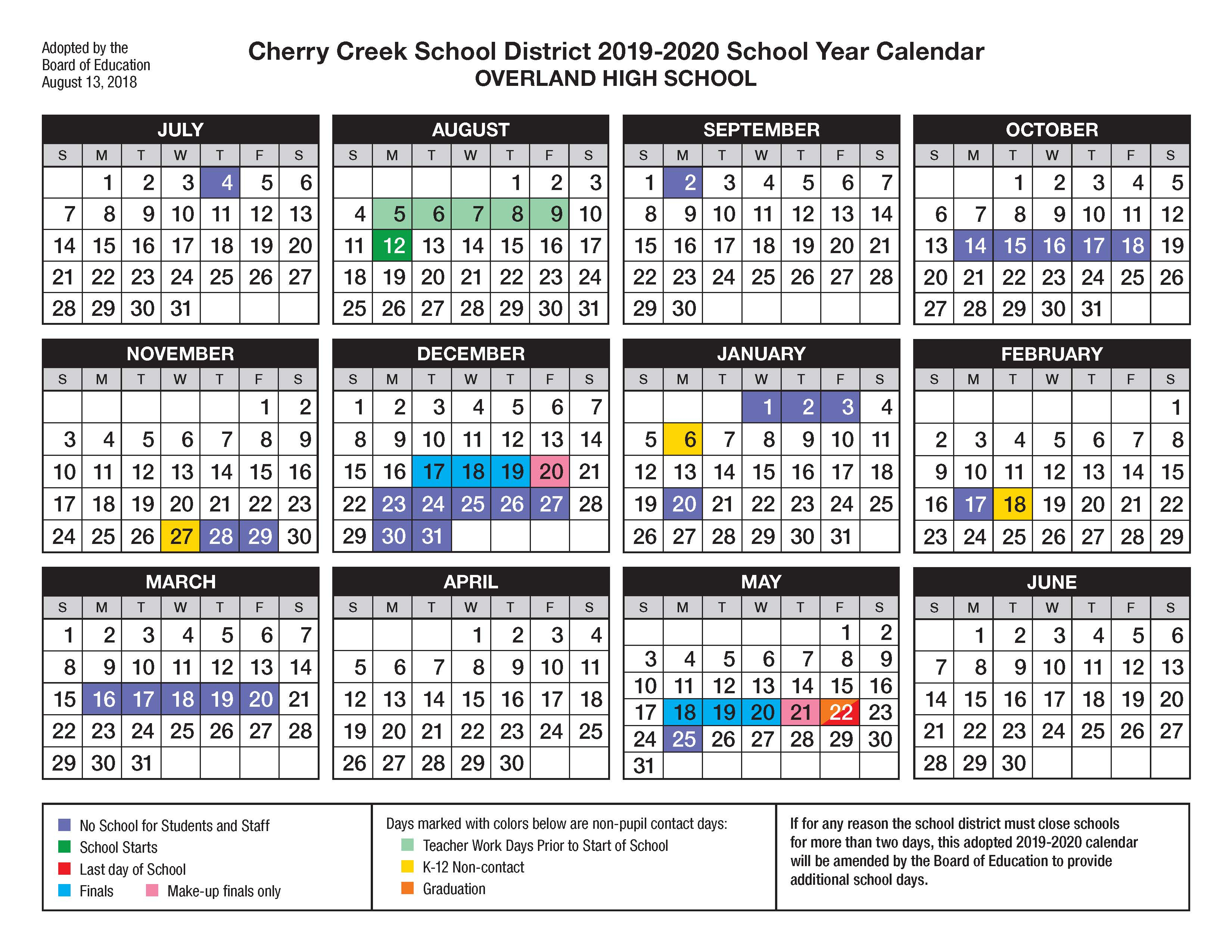 Overland High School / Calendar Regarding Walnut Hills Highchool Calendar