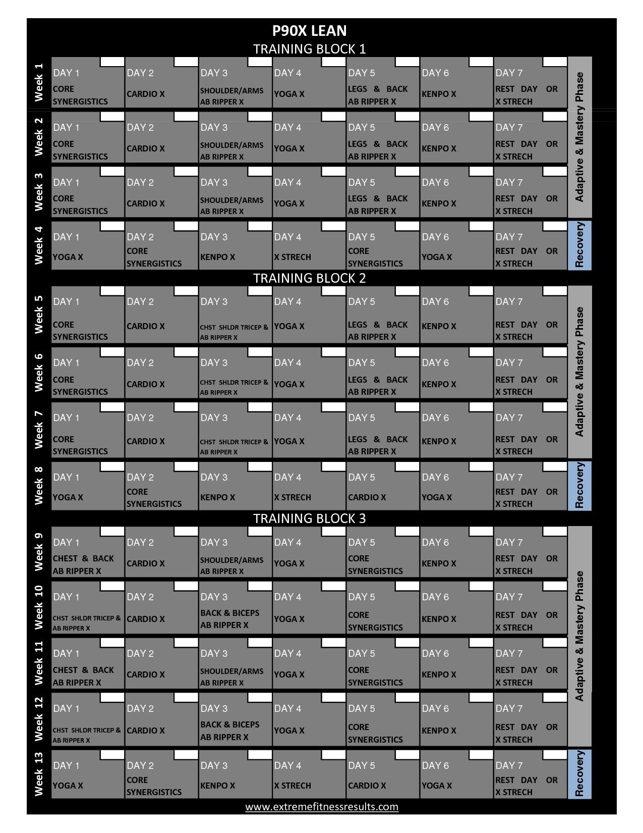 P90X Workout Calendar Printable (With Images) | P90X Workout With Regard To Supreme 90 Day Calendar Pdf