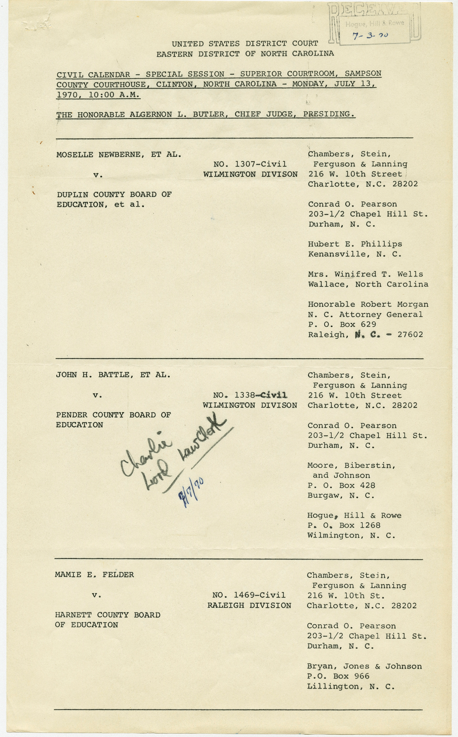 Page 1 - Civil Rights In Southeast North Carolina: The With Regard To Superior And District Court Calendars