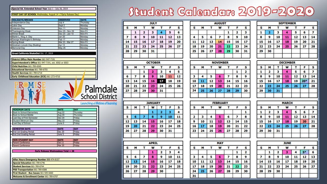 Palmdale School District / Psd Homepage Within Little Rock School District Calendar 2021 20