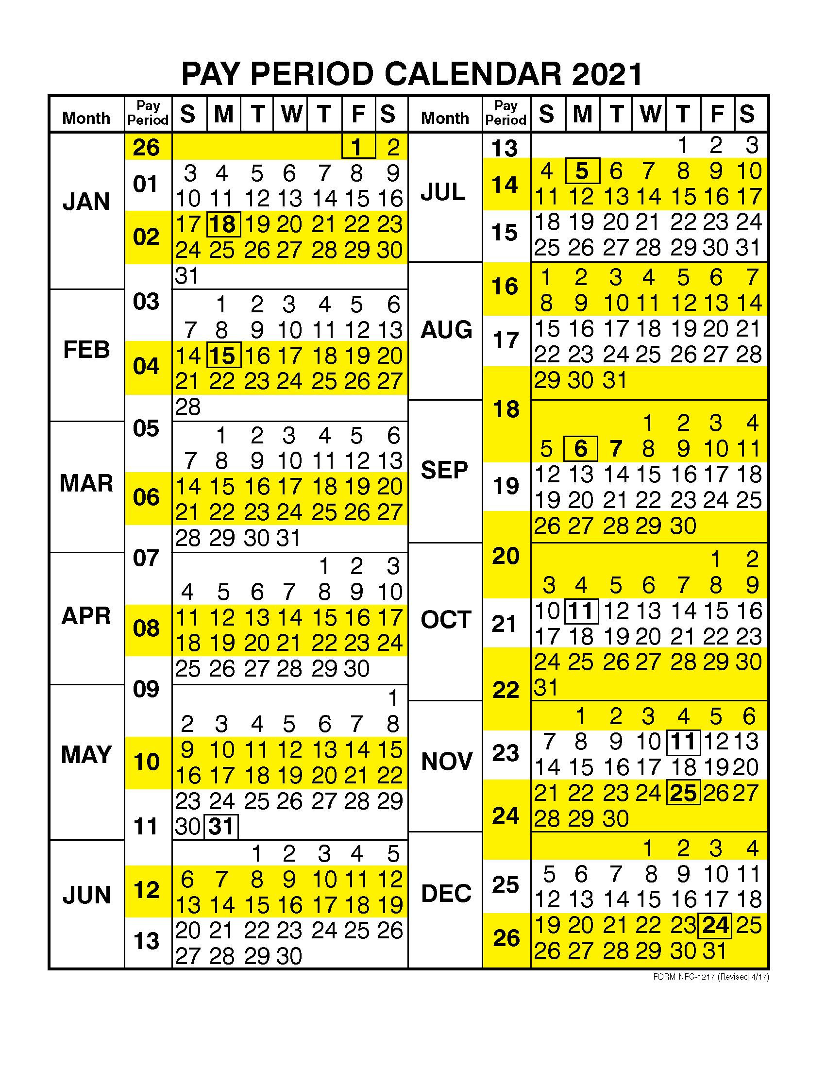Pay Period Calendar 2021Calendar Year | Free Printable Regarding 2015 Pay Period Calendar Federal
