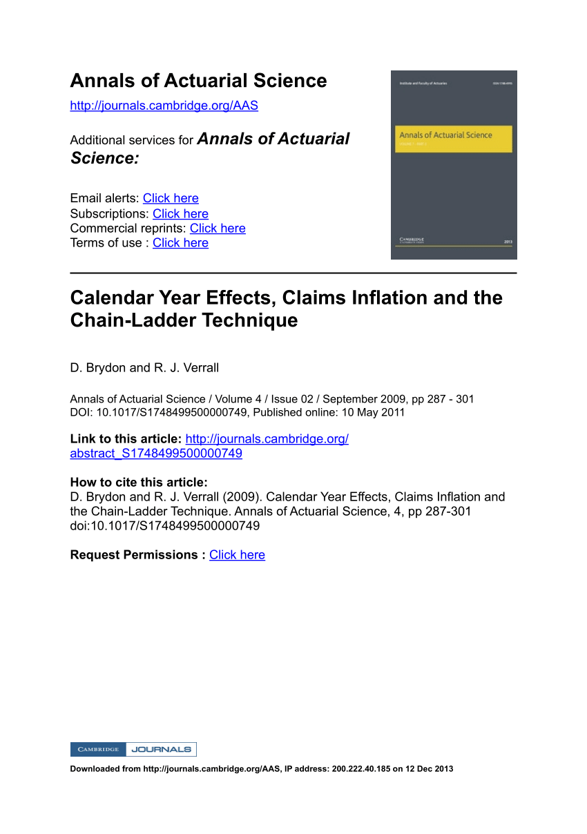 Pdf) Calendar Year Effects, Claims Inflation And The Chain With Clendar Year Verse Accident Year