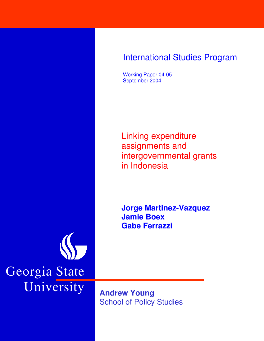 Pdf) Linking Expenditure Assignments And Intergovernmental In Georgia State University Semester Start Date 2004 – 2005