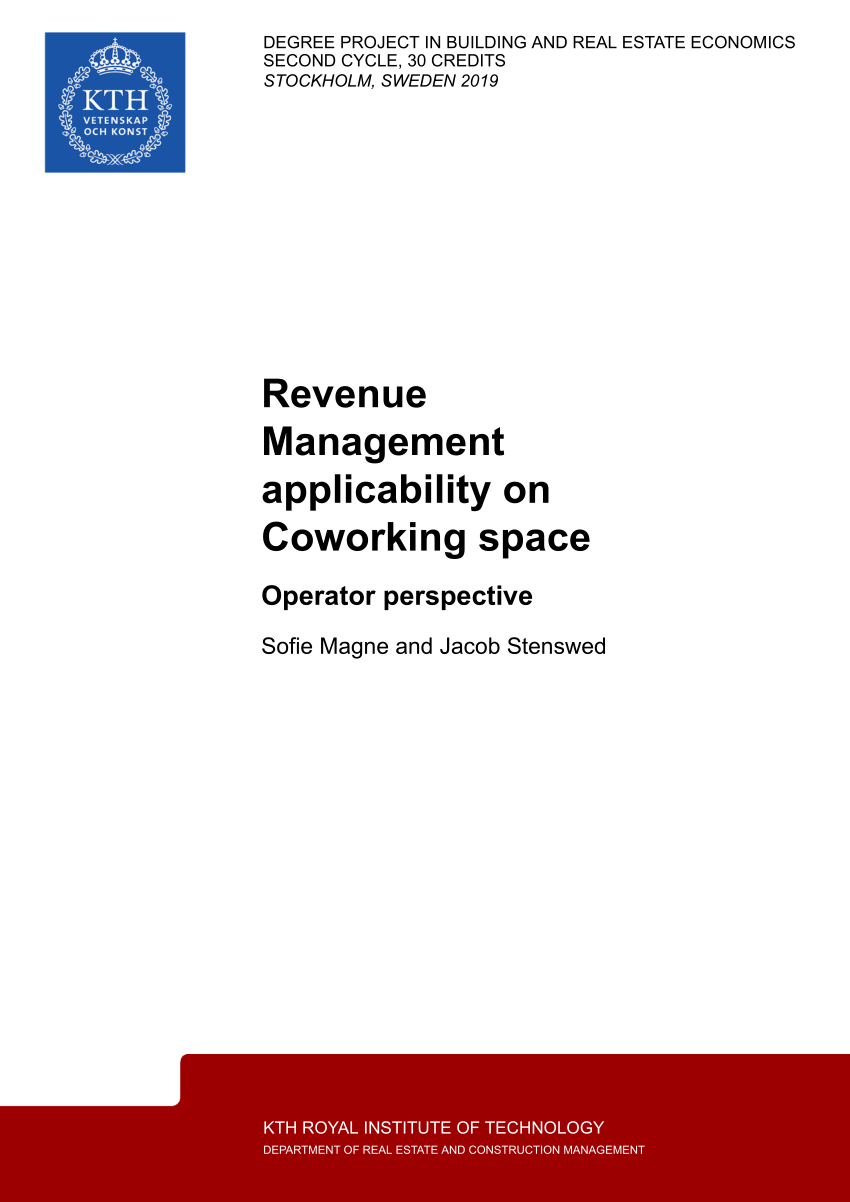Pdf) Revenue Management Applicability On Coworking Space inside Rida Institute Of Technology Calander
