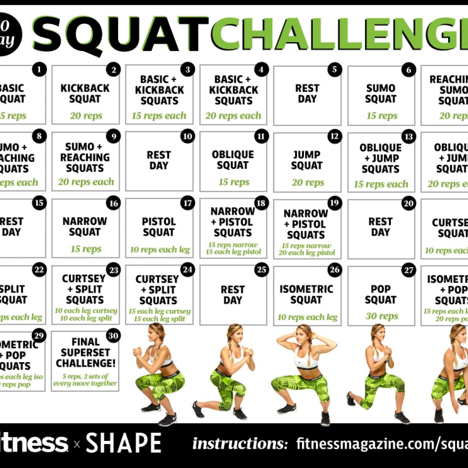 Pin On Fitness With 30 Day Squat Challenge Calendar