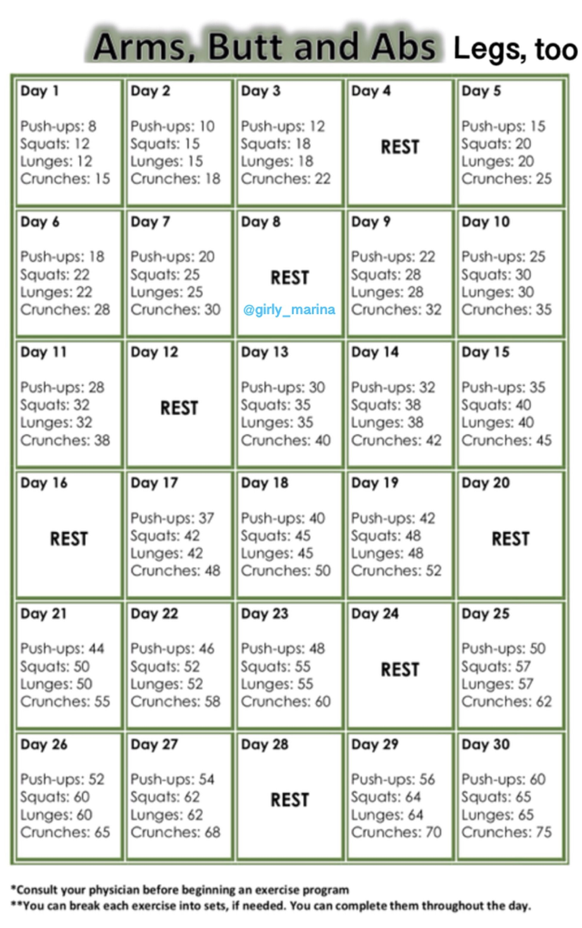 Pin On Health And Fitness In 30 Day Butt Gut And Leg Challenge Printable
