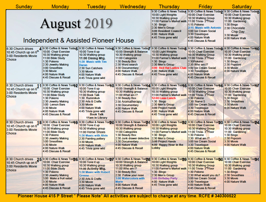 Pioneer House Independent And Assisted Living Resident For Assisted Living Activity Calendar Format