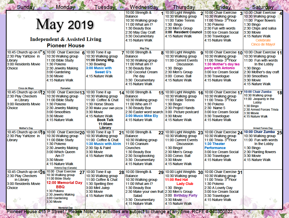 Pioneer House Independent & Assisted Living Activity with Assisted Living Activity Calendars