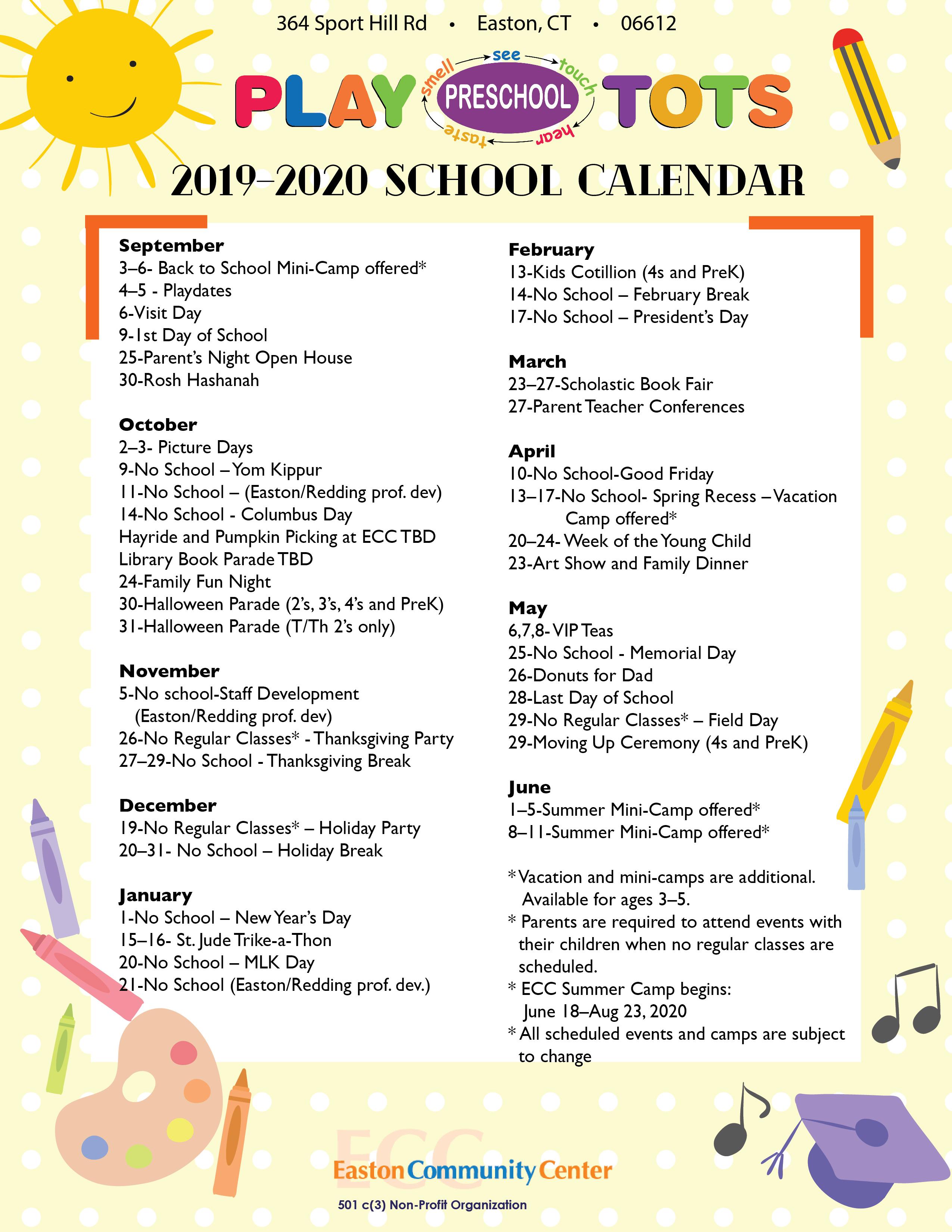 Playtots Calendar 2019  2020 01 | Playtots With Regard To East Meadow High School Calandar 2012