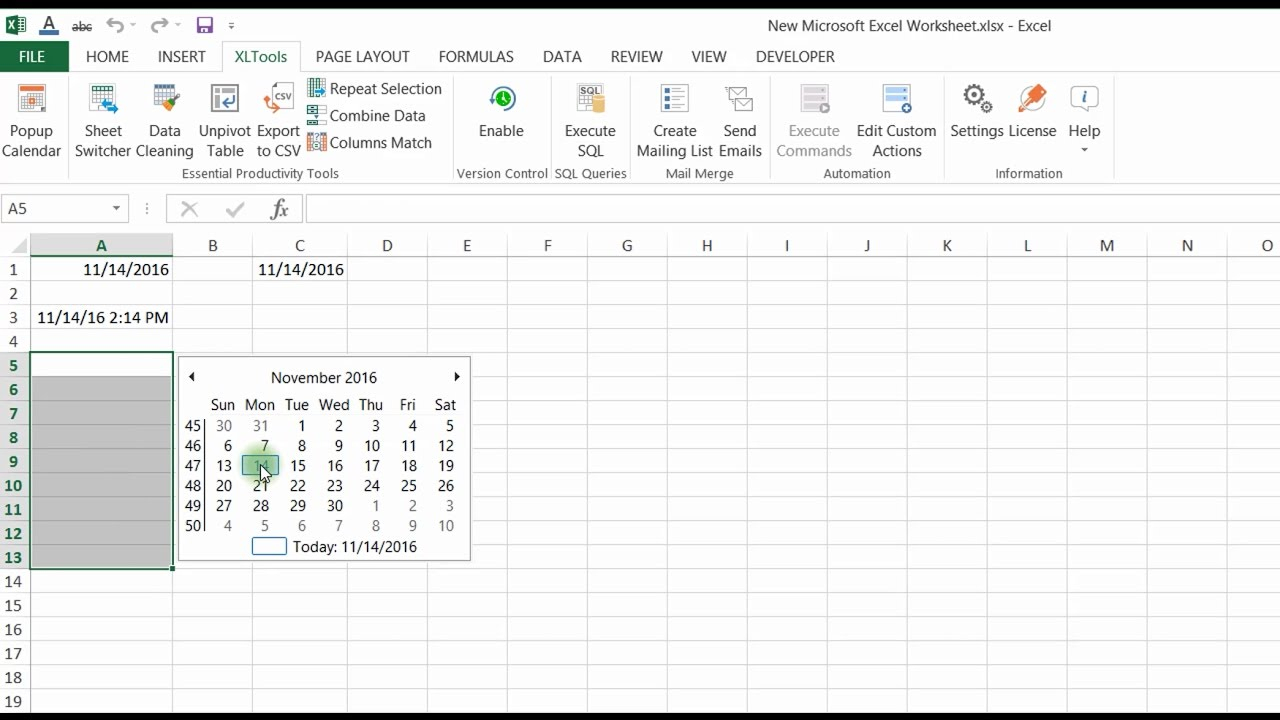 Popup Calendar For Excel   Xltools – Excel Add Ins You Need Pertaining To Convert Excel To Calendar View