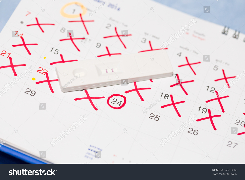 Positive Pregnancy Test Calendar Stock Photo (Edit Now Within When To Take Pregnancy Test Calendar