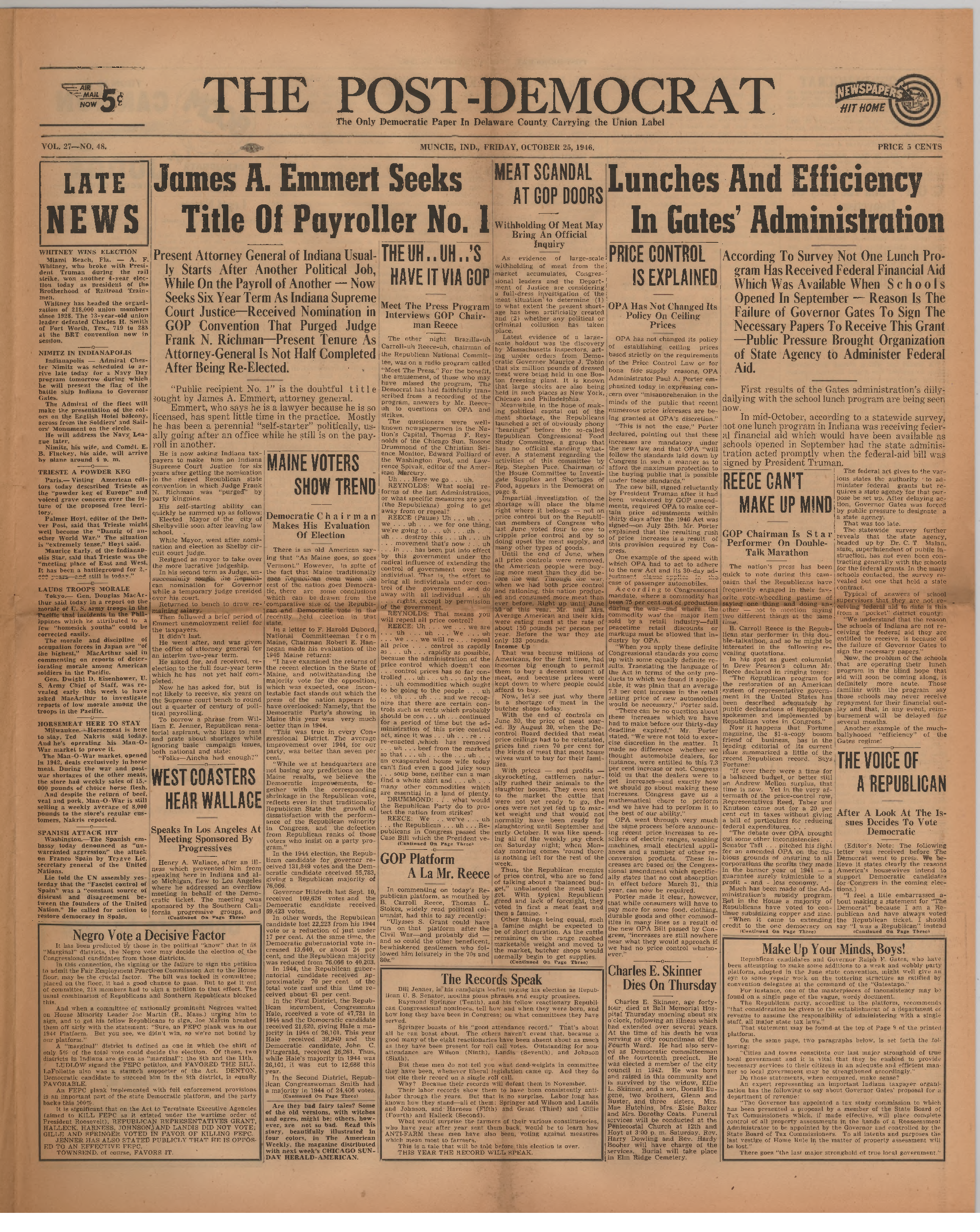 Post Democrat (Muncie, Ind.) 1946 10 25, Vol. 27, No. 48 Inside 20When Does Dorchester County School Start In August Of 20