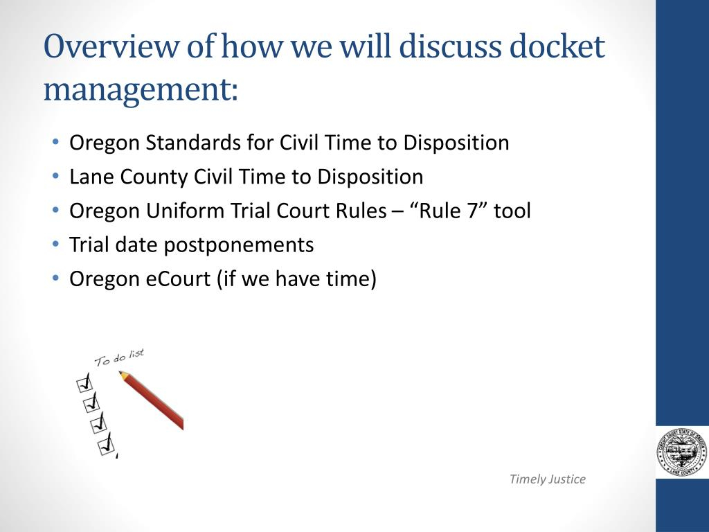 Ppt - Docket Management ~ A Balancing Act Powerpoint With Lane County Trial Calendar