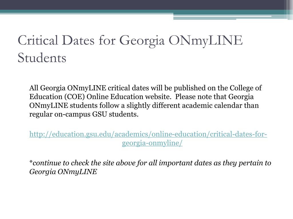 Ppt - Georgia Onmyline Orientation & Advising Powerpoint Within Gsu Edu Academic Calendar