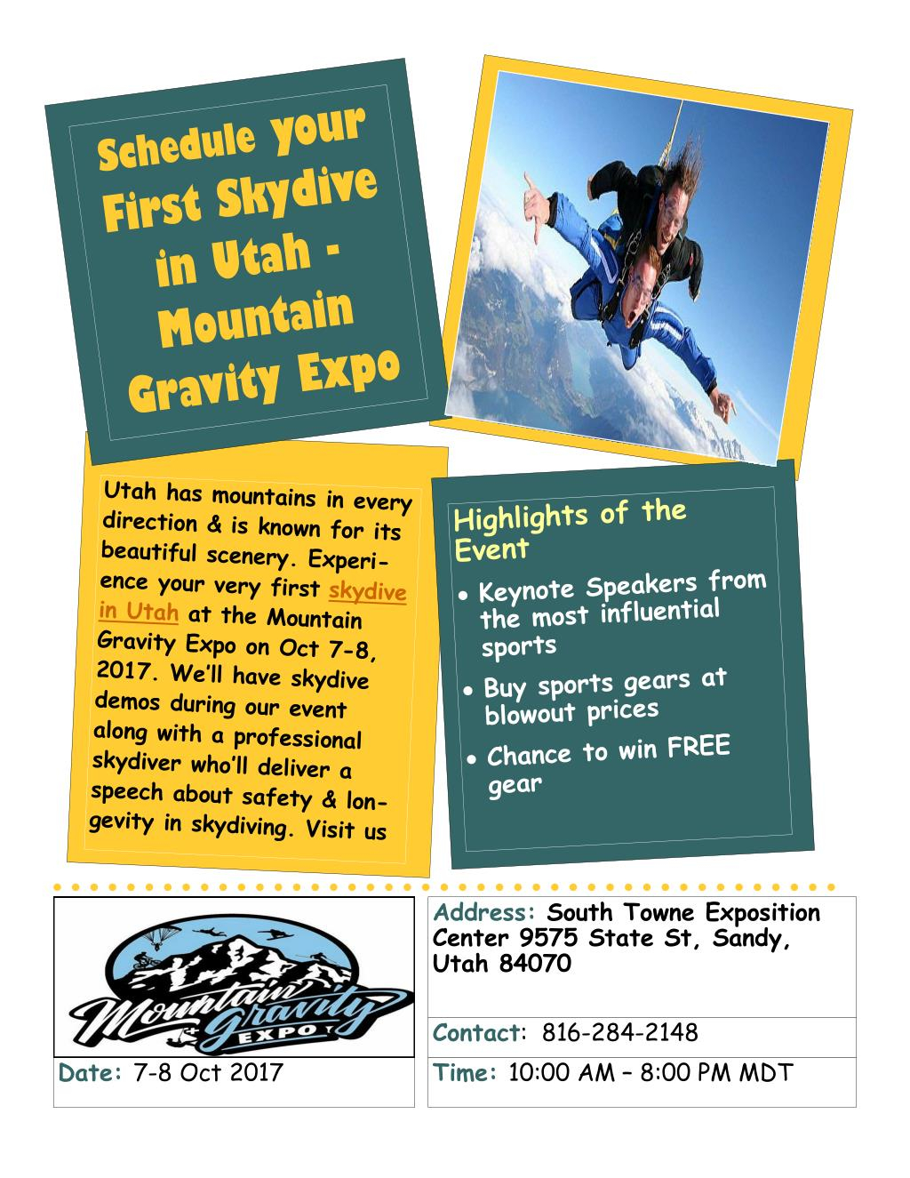 Ppt - Schedule Your First Skydive In Utah - Mountain Gravity With South Town Expo Schedule Utah