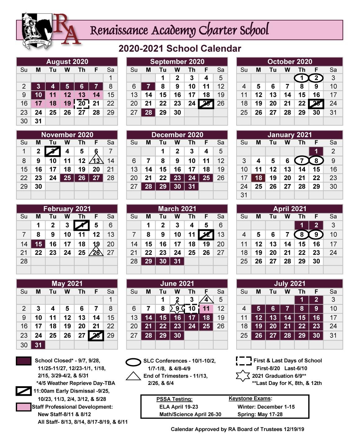 Printable 2020 2021 School Year Calendar – Renaissance With Regard To Delaware County Community College Academic Calendar 2021