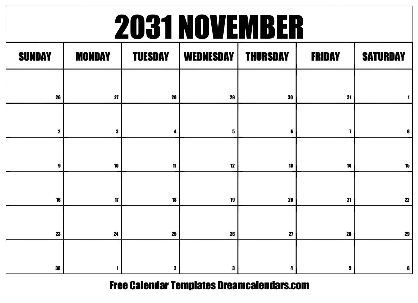 Printable November 2031 Calendar Pertaining To Calendar Sunset Sunrise Length Printable