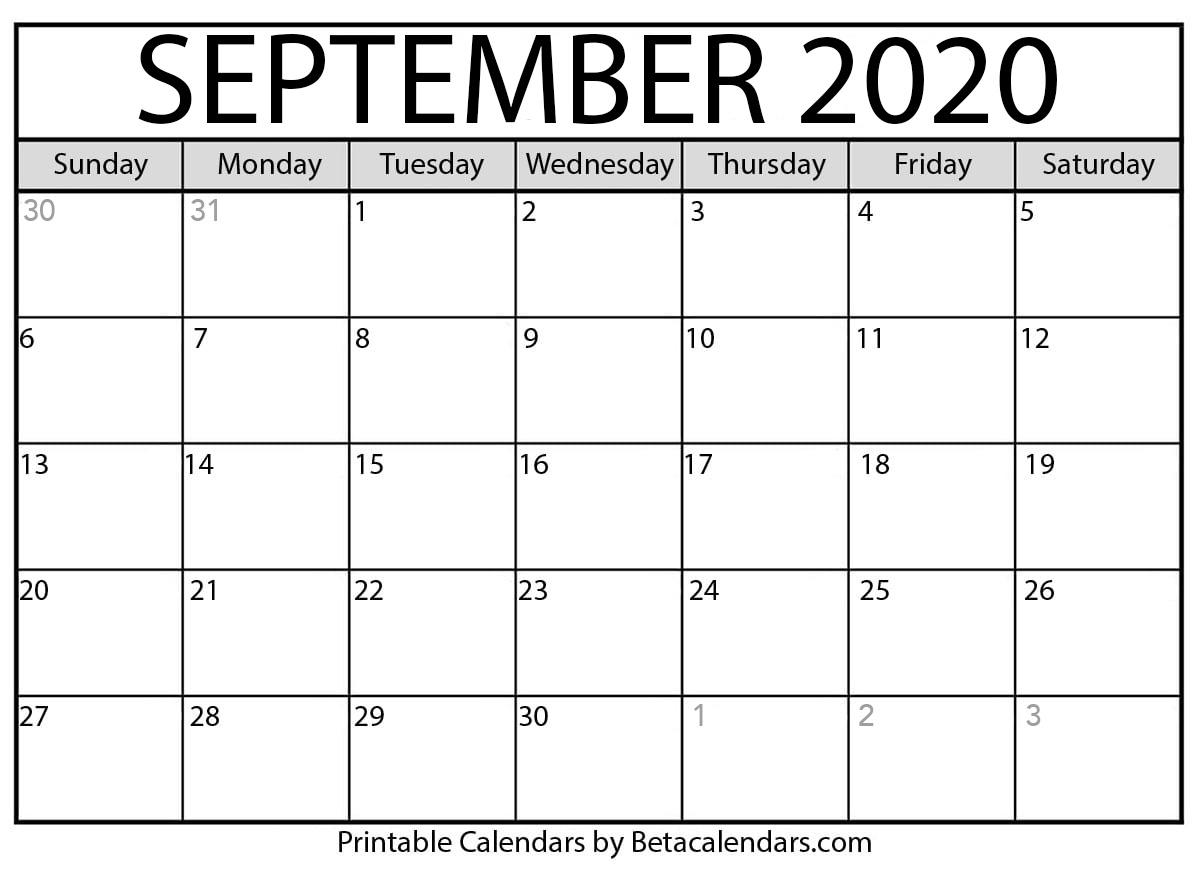 Printable September 2020 Calendar – Beta Calendars Within Canton Trade Days Calendar 2021