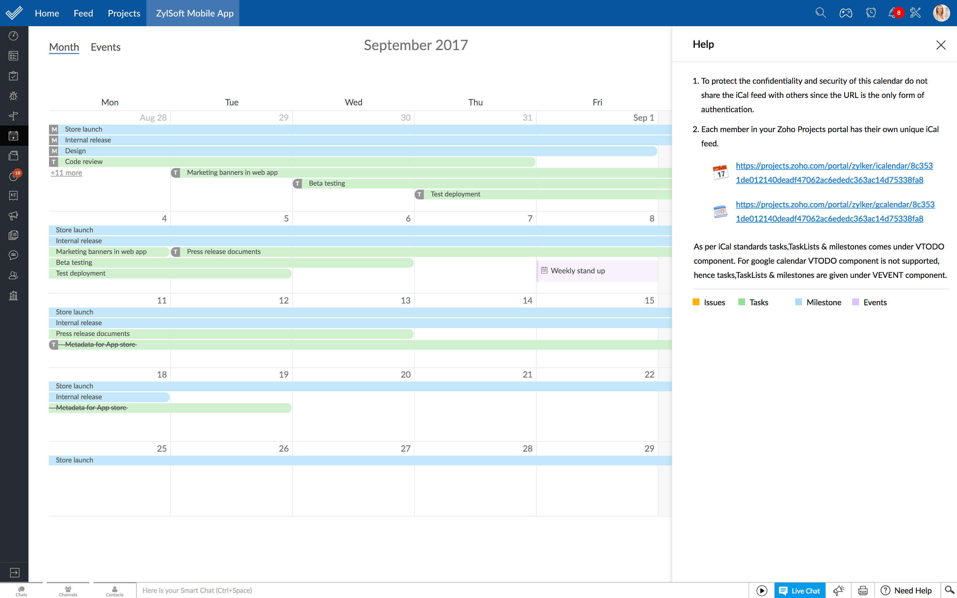 Project Management System For Your G Suite – Zoho Suite Intended For How To Create A Printable Calendar In G Suite