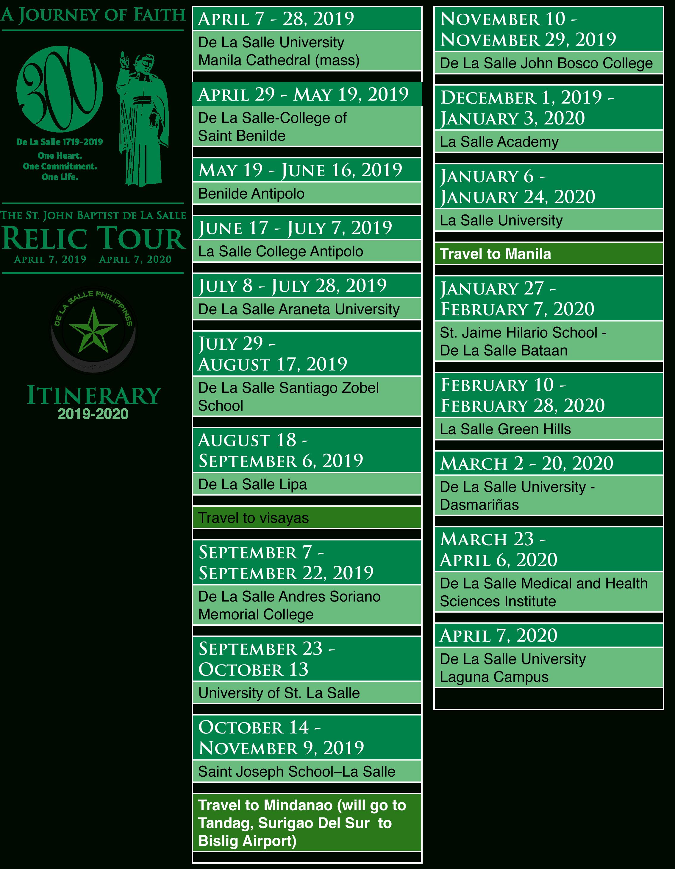 Proposed Itinerary Of The Relic 2019 2020  Pdf V1 - De La For La Salle University Calander