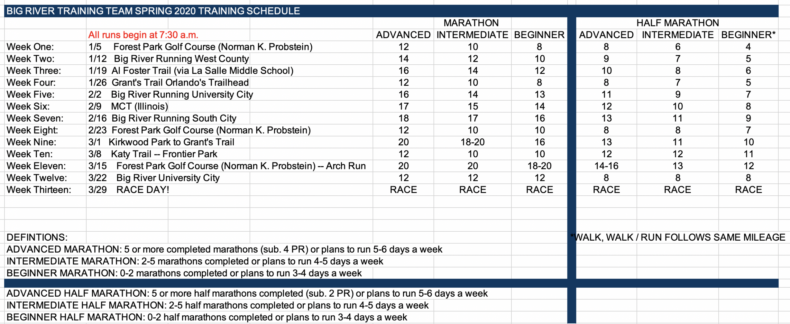 Race Calendar | Big River Running regarding Big River Running Calendar