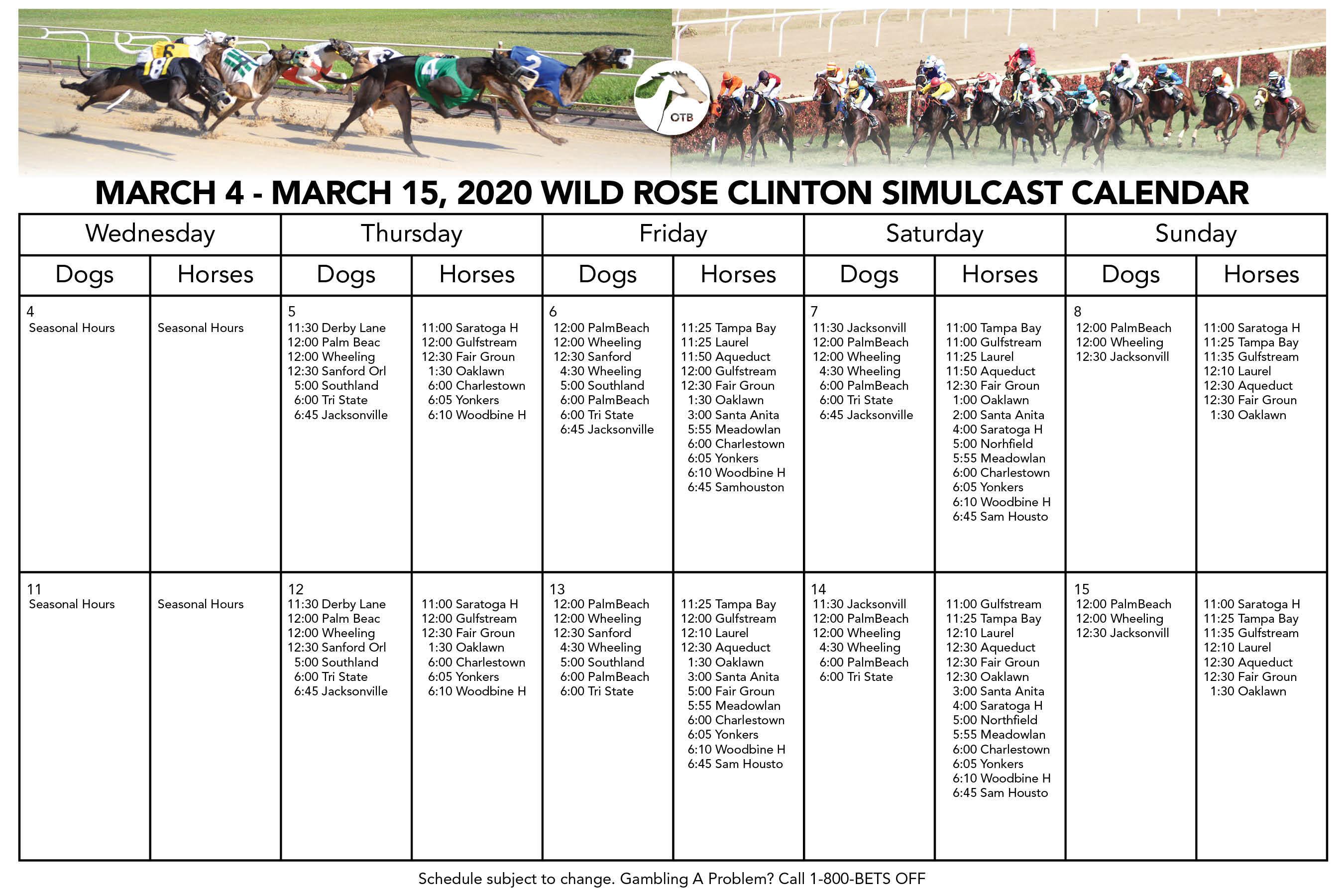 Racing | Wild Rose Casino And Resort Inside Tampa Bay Downs Race Track Calendar