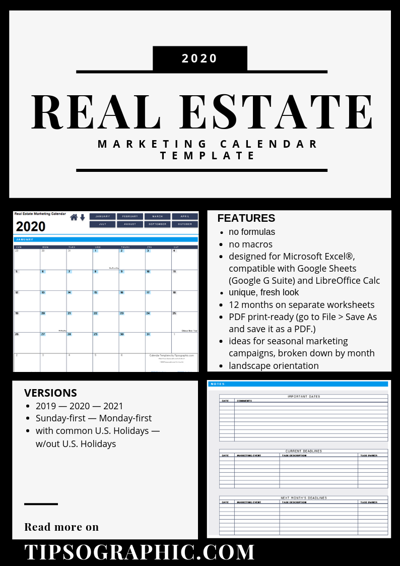 Real Estate Marketing Calendar Template For Excel (2019 2020 Throughout Broken Arrow Public Schools Instructional Calendar 2021